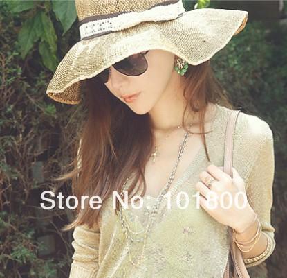 New Style mix colors 30pcs/lot 2013 beach hat, brim sun hat,Fashion Women fashion Summer Beach hot sell(China (Mainland))
