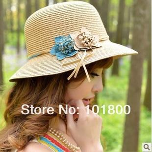 EMS 20pcs/lot 2013 new product, beach hat, brim sun hat,Fashion Women Summer Beach hot sell(China (Mainland))
