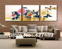 3 Piece Free Shipping Hot Sell Modern Wall Painting Chinese Peony Flower Home Decorative Art Picture Paint on Canvas Prints A113