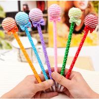 Free Shipping Ball lollipop ballpoint pen plush pen cartoon stationery small 10g