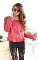 2013 spring PU pull style tassel epaulette turn-down collar coat leather clothing