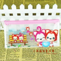 Free Shipping Mesh pencil case stationery bags large capacity 15g brief