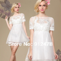 Free Shipping 2013 Women's New Fashion White And Black Lace Embroidery Short Sleeve Chiffon Mini Dresses Casual Ball Gown Dress