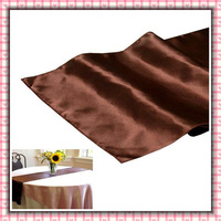 """Free shipping  20 pieces 12""""x108"""" Chocolate Satin Table Runner Wedding Party Banquet Decoration"""