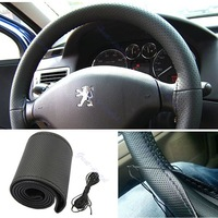 Free Shipping Hot Selling Popular Black Leather DIY Car Steering Wheel Cover With Needles and Thread