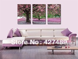 3 Piece Free Shipping Hot Sell Modern Wall Painting Purple Blossom Tree Home Decorative Art Picture Paint on Canvas Prints A119(China (Mainland))