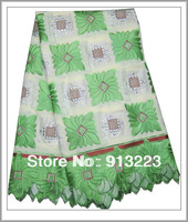 High Quality Swiss Voile Lace Fabric 100% Cotton African Lace Free Shipping NL440 GREEN