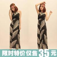 Black feather bohemia beach full dress