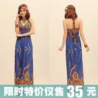 2013 sweet straps Bohemia V-neck one-piece dress slim beach full dress