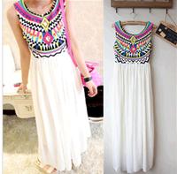 Free shipping pattern bohemia skirt pleated sleeveless chiffon patchwork one-piece dress