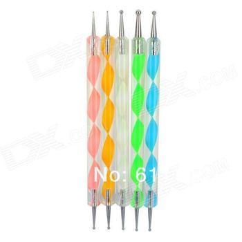 Free shipping  30pack/lot   Wholesale  5pcs/pack  Nail Art Dotting Marbleizing Paint 2 Ways Dotting Pen