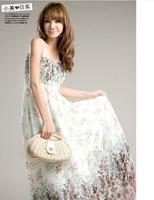Free shipping 2013 spring and summer new bohemian dress chiffon dress women floral dress sling Tee Dress