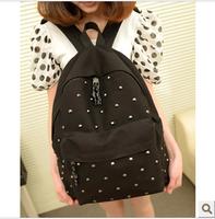 2013 preppy style rivet backpack women's handbag school bag backpack canvas bag student bag female bags