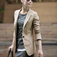 2013 Autumn new women's blazers  brief one button large pocket slim small suit solid lady's work wear jacket