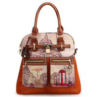 2013 women's handbag ladies vintage oil painting bags british style fashion handbag