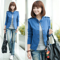 free shipping women solid color stand collar double breasted cardigan short jacket  women casual coat blazer
