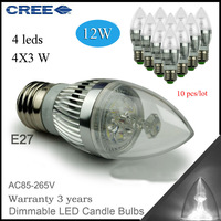 Factory directly sale 10pcs/lot E27 12w 4x3W 85-265V CREE Bulb led  candle bulb candle lamp lights Dimmable free shipping