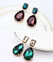 Min.order is $15(mix order) 2013 New Fashion Brief Crystal Drop Earring OL Jewelry Charm Earrings free shipping