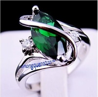 Delicated Sz8 rings jewelry  emerald  lady's 14KT white Gold Filled Ring Gift for women free shipping