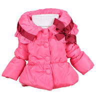 Children's Clothing Girl's Winter Coat Padded Cotton Jacket Korea Style Bow Warm Thick Outerwear Free fit 4-6Yrs Shipping