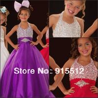 Wholesale Beautiful Halter Neck Upper Body Beaded Embellished Ball Gown Organza Long Cheap Flower Girl Dress