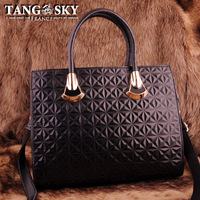 First layer of cowhide black jinhua handbag messenger bag dimond women's plaid handbag bag 2013