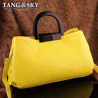 Cowhide japanned leather vintage handle candy color fashion handbag cross-body women's handbag bag