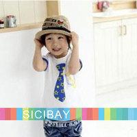 Free Shipping Baby Boy Clothing Summer Kids Tshirts Korea Style Children Tshirt,Tie & Glasses Printed Tees  K0199