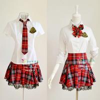 Sweet elegant school wear fashion school uniform class service costume red plaid lace set