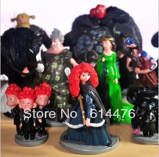 10sets/lot Brave Action Figure Dolls Toy PRINCESS MERIDA Pixar MOVIE Toys Cake Topper PVC FIGURINE set of 10pcs Free shipping(China (Mainland))