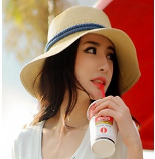 Hat female summer fedoras strawhat beach cap sun-shading sun hat(China (Mainland))