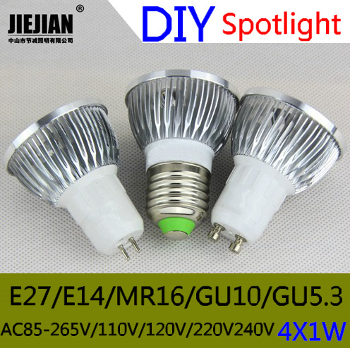 40PCS Free Shipping DIY LED Shell Gold / Silver 4 x 1W MR16 GU10 GU5.3 E27 E14 LED Saving Spotlight Lamp Shell Kit \ 3W Aluminum(China (Mainland))