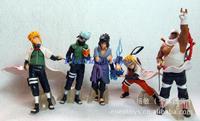 free shipping  Cartoon toys  PVC  Naruto character models 5 models who set vinyl hand puppet animation birthday gift