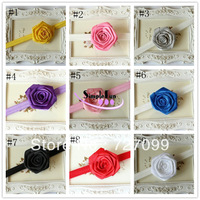 "Free Shipping!! 2.75"" Satin Rose Flower Bow+5/8"" Foldover elastic Headband For Baby Girl 50pcs/lot"