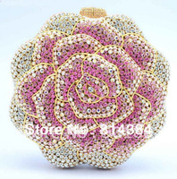 Free Shipping! Unique Rose Flower Shaped Pink Crystal Clutch Bag Hard Box Evening Purse Handmade S08163