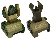 AEG Airsoft Folding Up Metal Front & Rear Sight Set Fit 20mm Rail Tan Color