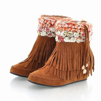 2013 autumn and winter boots flower tassel boots elevator scrub boots plus size women's shoes