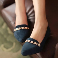 2013 spring and summer single shoes casual low-heeled pointed toe sweet metal rhinestone chain shallow mouth low-heeled shoes