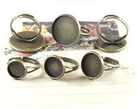 15PCS Antiqued bronze 16mm cabochon settings adjustable Rings #23002