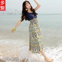 Summer bohemia full dress women's plus size slim chiffon one-piece dress full dress e
