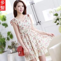 2013 summer plus size chiffon one-piece dress lace skirt chiffon shirt women e