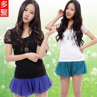 2013 summer spring and summer women's T-shirt women's short-sleeve t-shirt plus size lace basic shirt e
