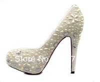 2013 Spring models wholesale pearl white luxury handmade custom wedding shoes bridal shoes high heels ladies shoes sweet