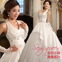 2013 wedding noble elegant deep V-neck white bride wedding dress wedding dress