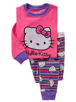 Free shipping Hello Kitty children clothing sets cartoon Girls Pajamas/Boys Pajamas for Height 85cm to 120cm