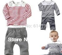Infant Baby Sets Clothing Suit Children's Color Strips Clothes Set Baby Cotton T-Shirt + Pant Clothing Set 5 sets/lot