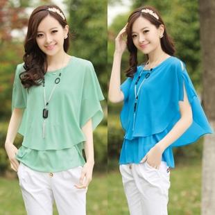 2013 summer women's strapless ol batwing sleeve plus size chiffon shirt o-neck short top short-sleeve chiffon