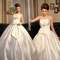 2012 full satin tube top bandage repair brief bridal wedding dress