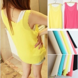 Fashion chiffon shirt normic petals sleeveless vest the waves small spaghetti strap basic scrub