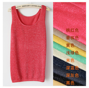 2013 spring and summer fashion bling liangsi spaghetti strap women's small vest